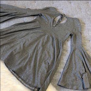 Altar'd State Dresses - Altar'd state grey striped bell sleeve dress sz. S